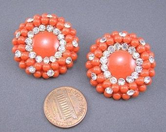 Vintage Orange Clipon Earrings, Clear Rhinestones,Lightweight Plastic,Vintage c1950s, Costume Jewelry