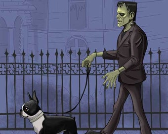 boston terrier art, print, frankenstein monster, bride of Frankenstein, walking a boston terrier