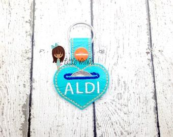 Aldi quarter Snap Tab - Heart Aldi Quarter Keeper- Quarter Fobs - Heart Quarter Key chain - Quarter keeper key chain -Aldi Heart Quarter