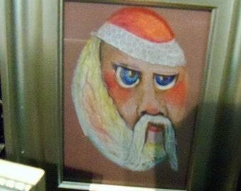 original art drawing Christmas santa framed to 5x7 inch