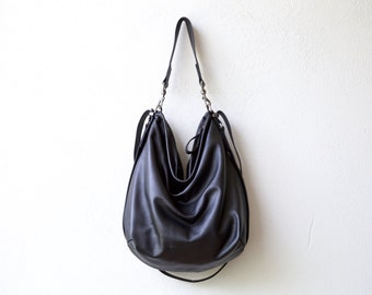 HOBO PACK in soft featherweight leather  'three in one' - leather backpack - int zip pocket - select your size