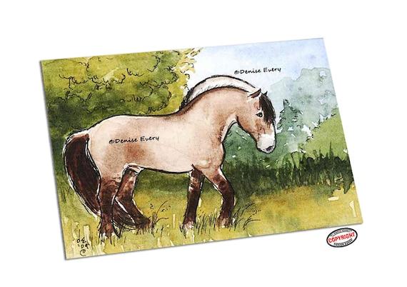 Norwegian Fjord Horse Summer Landscape Equine Art Brown Dun ACEO ATC Print SFA