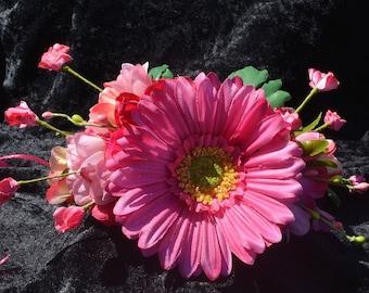Boho Flower Crown, Flower Girl Headband, Hot Pink Crown, Flower Girl Crown, Photo Prop, Fairy Crown, Gerbera Daisy Crown, Halloween Costume
