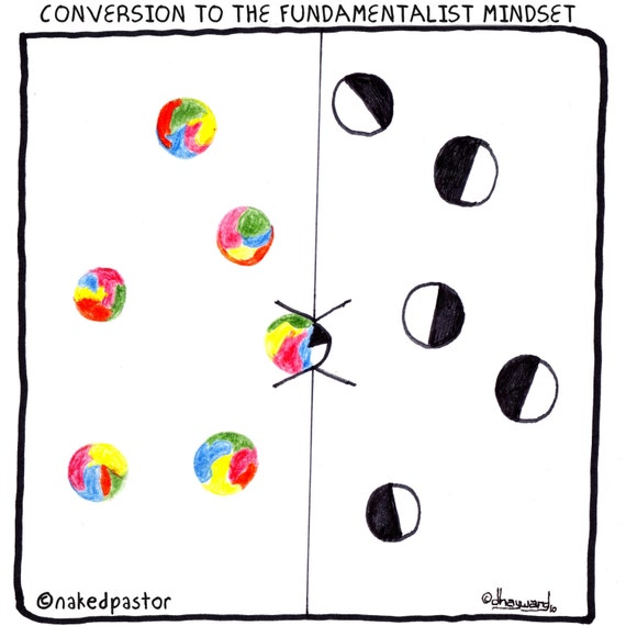 conversion to the fundamentalist mindset CARTOON