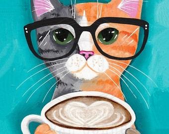 Coffee Cat - Autumn Cat Folk Art Print 8x10, 11x14