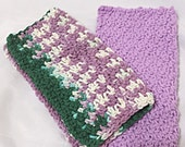 Two Dishcloths Wash Cloths, Lavender
