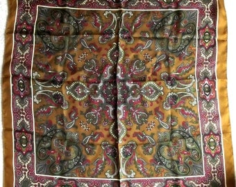 Vintage Silk Scarf, Liberty of London Scarf, Square, Brown, Olive, Red, Paisley, Authentic