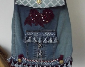 Handmade Cross Body Purse, Denim, Americana, Baseball, Upcycled, Fringed, Boho Shoulder Bag, Hippie