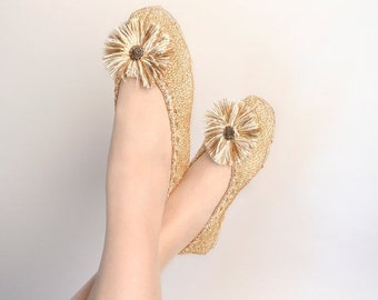 ON SALE Vintage Gold Slippers - Boudoir Golden Knit Flats with Pom Pom Toes - Size 9 10