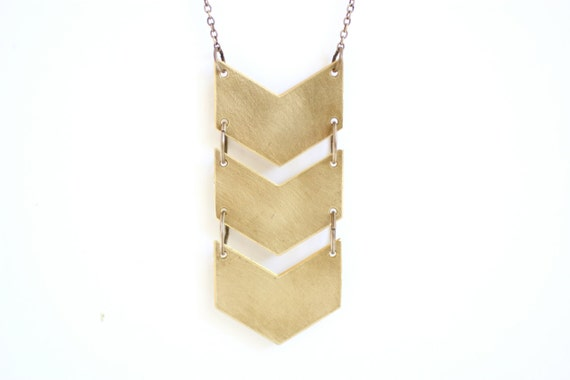 Geometric Triple Chevron Necklace - Brass, Gold Fill or Sterling Silver