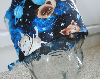 Fold Up Surgical Scrub Hat with Cats in Space