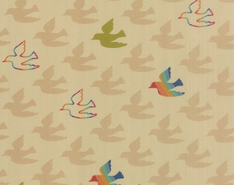 Japanese Fabric, Cotton Fabric by the Yard, Nature fabric, Bird fabric, Flying Colors by Momo, Peace Birds in Natural, Choose your cut