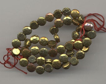 24  Vintage Czechoslovakian Glass  Faceted Bronze Nailhead Beads 8 mm Jewelry Clothing Repair