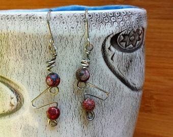 bold avant garde handcrafted sterling silver earrings with natural leopardskin jasper gemstone beads