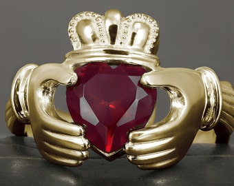 Big Ruby Claddagh ring in gold - Available rose, yellow and white gold 10kt, 14kt and 18kt