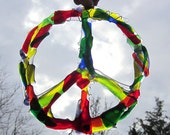 Rainbow Colored Peace Sign Fused Glass Suncatcher Wall Hanging