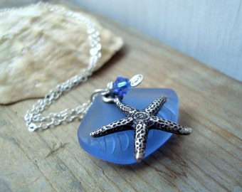 Ocean Blue - Silver Starfish and Sea Glass Necklace With Crystal Silver Jewelry Beachy Summer Jewelry Gemstone Bridesmaid Necklace