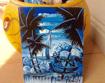 FREE SHIPPING-Vintage Tropical Haiti Painting by Frandy-Palm Trees-Sailboats-Water Scene-Tropical Scene-Coastal Decor-Beach House Decor-Boho