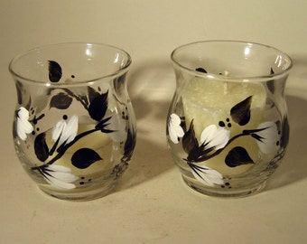 Hand Painted Black and White Floral Votive Holders