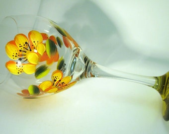 Hand Painted Yellow Lily Wine Glass