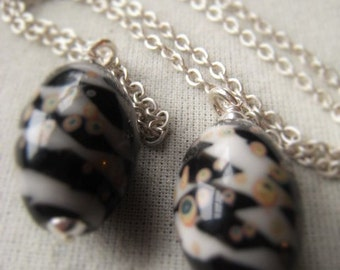 Black and White Glass Bead Pendant Sterling Silver Lampwork Pendant Barrel Speckled Egg Bead Item No. 2963