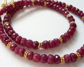 Handcrafted Artisan Faceted Natural Ruby 14kt Gold Vermeil OOAK Valentine Love Luxury Gift for Her Bohemian Minimalist Necklace