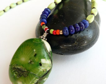 Handcrafted Artisan Green Apple Coral Lapis Turquoise Multi Colored Glass Bead Sterling Silver OOAK Tribal Primitive Boho Pendant Necklace
