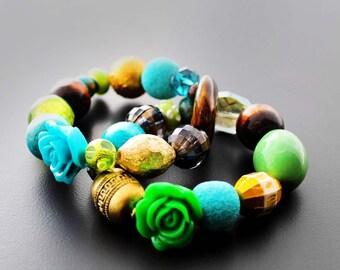 Stretch Bracelets, Beaded Bracelets, Chunky Bracelets, Bracelet Set, Turquoise, For Her, Ocean Water Beaded Stretch Bracelet Set