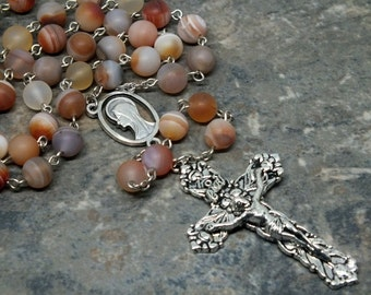 Gemstone Rosary of Peach Striped Agate, 5 Decade Rosary, Catholic Rosary, Frosted Gemstone Beads