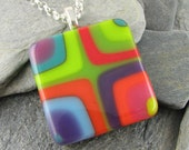Colorful Glass Pendant. Fused Glass Necklace. Sophisticated Jewelry. Wearable Art Jewelry. Made in Texas. Bold Bullseye Design.