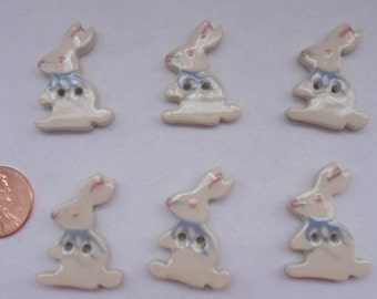 "Set of 6-Easter Bunny RABBIT Ceramic BUTTONS 1.25"" x .75""-Sew Thru-New"