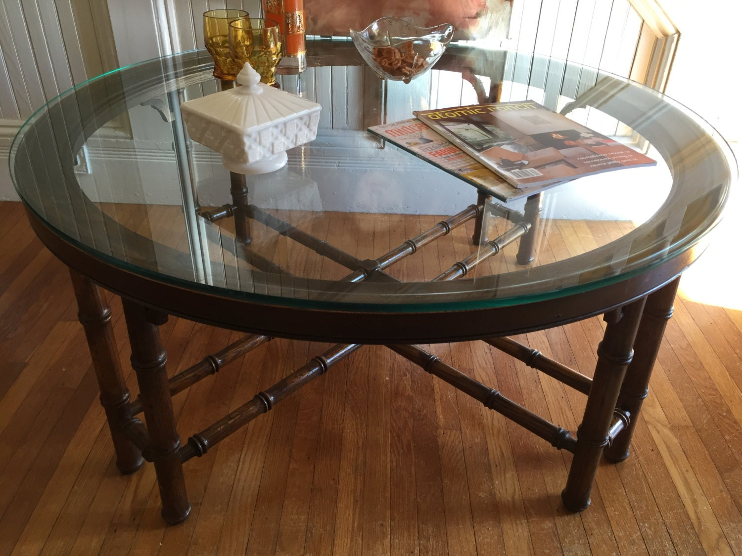 Coffee Table Faux Bamboo Round Wood Frame By Fishintheatticstudio