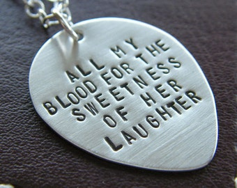 Custom Guitar Pick Necklace - Personalized Sterling Silver Hand Stamped Guitar Pick Pendant Necklace