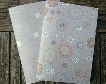 2 Handmade A5 Notebooks - Grey Set