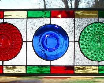 "Rainbow Transom panel stained glass panel 10"" x 24"""
