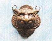 Lion King Gargoyle Escutcheon Pendant Antique Brass Medieval Figural Face DIY Hardware