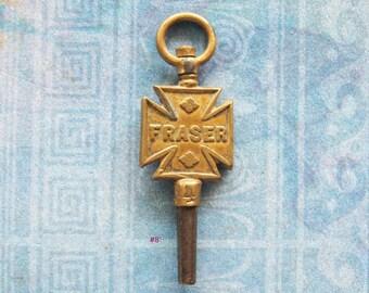 Maltese Cross Pocket Watch Key Advertising Jewelry Antique Brass Watchmaker Jeweller Fob Fraser, London England UK