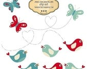 CLIP ART - Mod Birds and Butterflies commercial and personal use