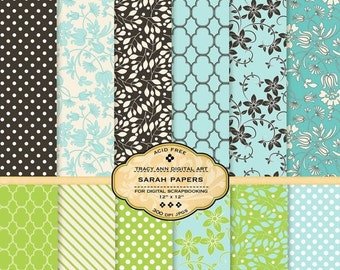 Sarah Digital Papers for scrapbooking, card making, photographers, photo cards