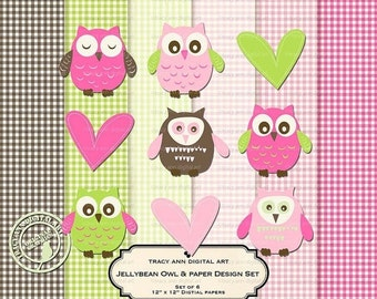 Design Set - Jellybean Digital Papers and Matching Baby Owl Set