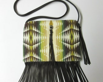 Fringed Cross Body Bag Purse Shoulder Brown Deer Leather Native American Print Wool from Pendleton Oregon Southwest Style