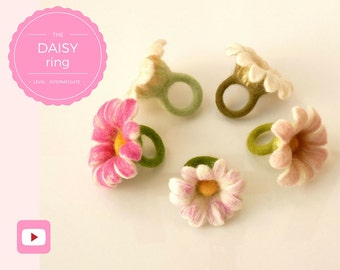 DIY - Video workshop seamless felted flower ring - Daisy ring - Intermediate level - 7 videos - Instant download
