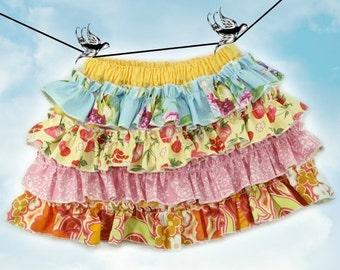 SALE PDF Sewing Pattern - less Tutorial 4-row ruffles Ruffled Up Skirt sizes 6m through 16 Girls Instant