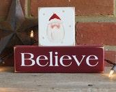 BELIEVE Santa Christmas Shelf Sitter Blocks Sign Home Decor for the Holidays