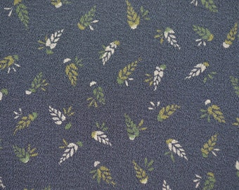 Charming Tiny Pine Cones on Gray-Blue Chirimen Crepe Silk Kimono Fabric BTY
