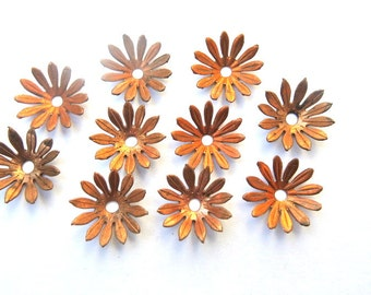 6 Vintage flowers copper beads, metal 15mm, RARE