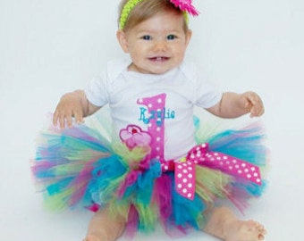 1st Birthday Girl Outfit - Girls First Birthday Outfit - Baby Girl 1st Birthday Tutu Set - Cupcake Birthday - Personalized