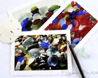 Sea Glass photo card  Set of 6 5x7 blank card beach theme