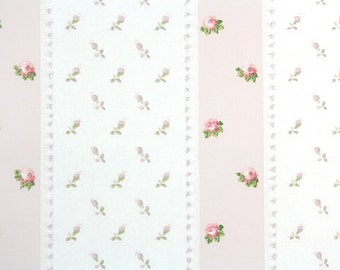 1950s Vintage Wallpaper by the Yard - Pink Rose Buds on Pink and White Stripes, Floral Wallpaper