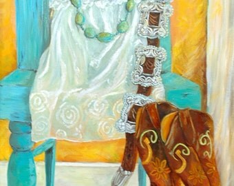 Leather and Lace Cowgirl Art Prints on Canvas